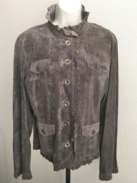 Deed Size Large Brown Suede Ruffled Jacket