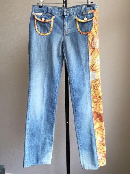 "Dolce & Gabanna 28"" Blue Jeans with Yellow Floral Trim"