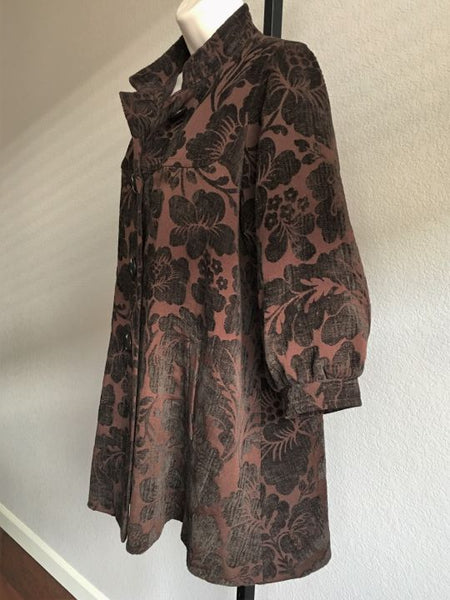 Elevenses Anthropologie Size 2 Brown Tapestry Coat