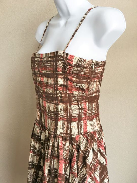 Elevenses Anthropologie Size 6 Brown Plaid Sundress