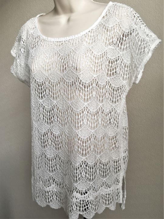 Ella Moss Anthropologie SMALL White Lace Sheer Top