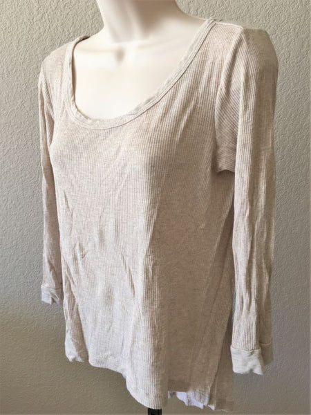 Enza Costa LARGE Beige Ribbed Knit Long Sleeve Tee