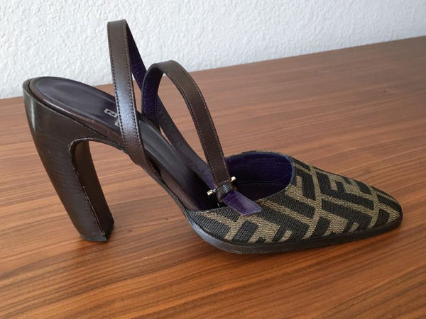 FENDI Size 6 Brown Zucca Print Ankle Strap Pumps