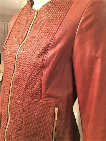 FENDI Size Small Cognac Woven Leather Jacket