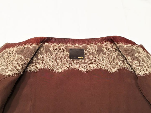 FENDI Size Small Rust Brown Woven Leather Blazer