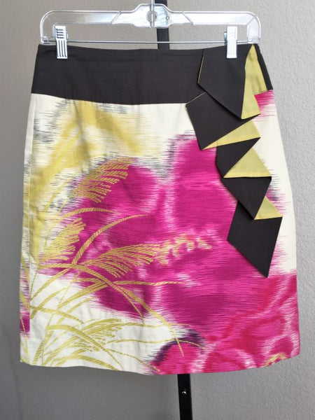 Floreat Anthropologie Size 8 Multi Color Front Ruffle Skirt