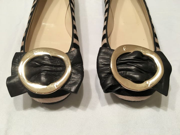 Frances Valentine Size 5.5 Flats in Striped Calf Hair