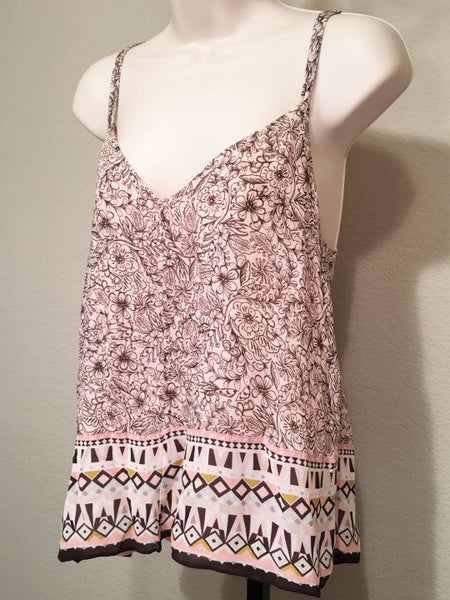 French Connection Size 4 Pink Silk Floral Tank Top