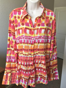 Georg Roth LARGE Pink Orange Tie Dye Shirt