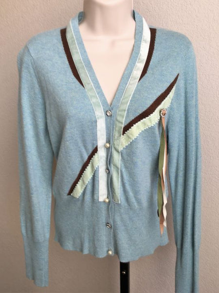 HWR Anthropologie MEDIUM Aqua Blue Cardigan