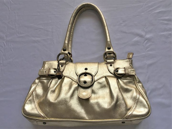 Helen Welsh Gold Leather Shoulder Bag