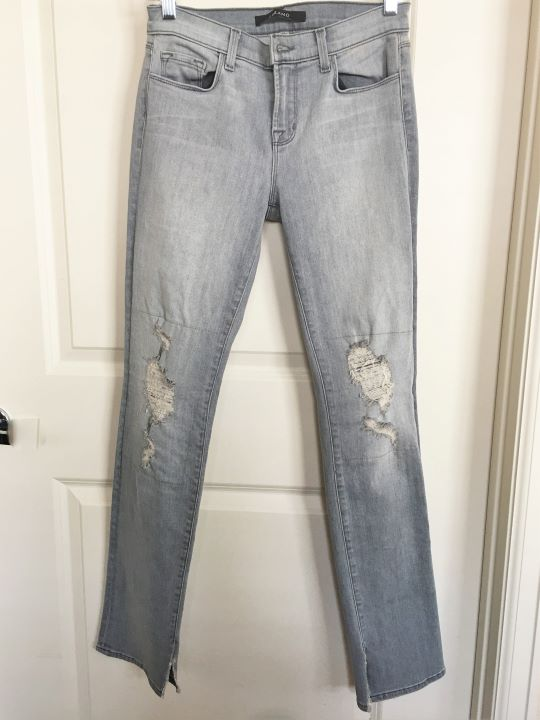"J Brand Size 26"" Gray Skinny Rail Distressed Jeans"