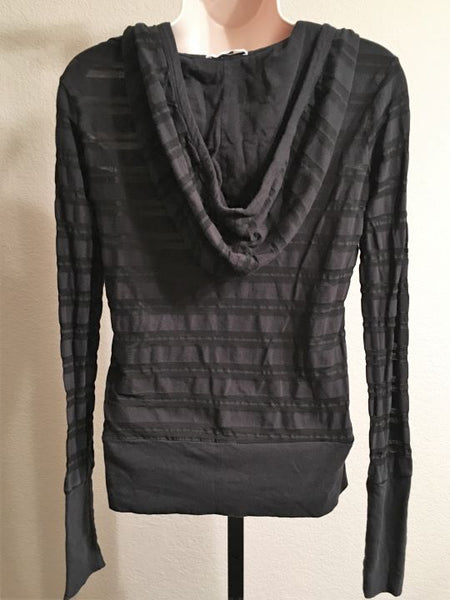 James Perse SMALL Black Sheer Striped Hoodie Tee