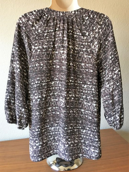 Joie Size XS Brown and White Silk Top
