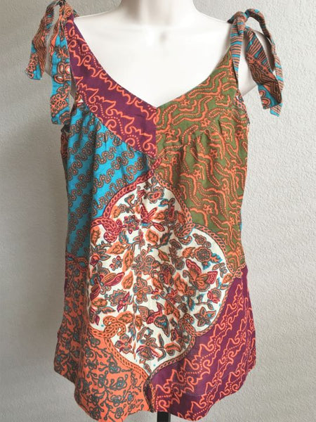 Joie Size XS Shoulder Tie Multi-Color Boho Tank Top
