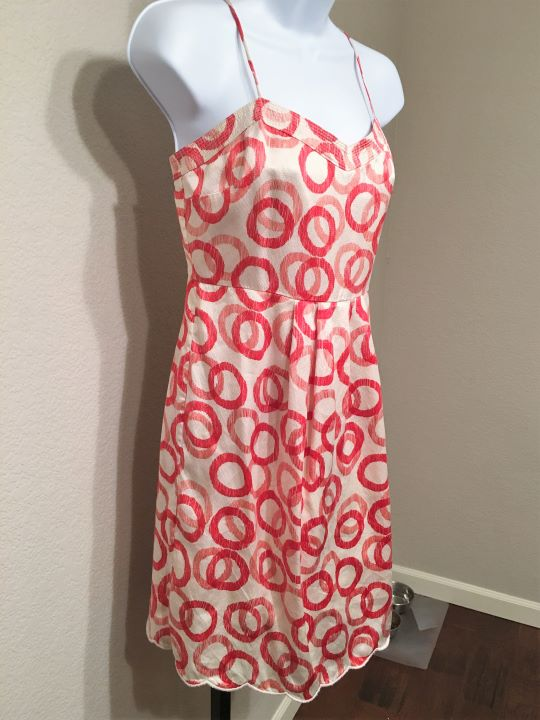 Juicy Couture Size 2 Cream and Red Silk Sundress