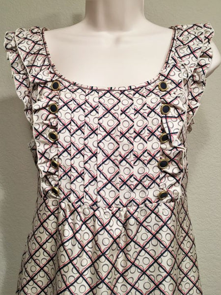 Juicy Couture Size 6 Silk Cream and Blue Checked Dress
