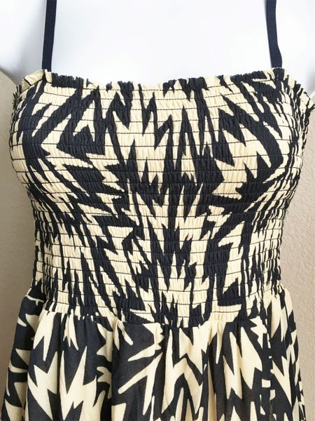 Juicy Couture Size XS Cream Sundress with Blue Zig Zag