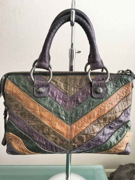 Linea Pelle Leather Brown Purple Green Chevron Bag