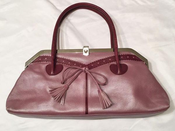 Lovcat Paris Mauve Leather Silver Frame Hearts Bag
