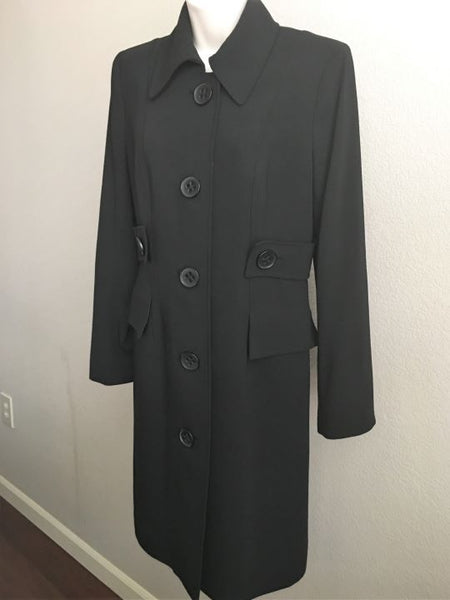 Magaschoni Size 4 Long Black Wool Coat