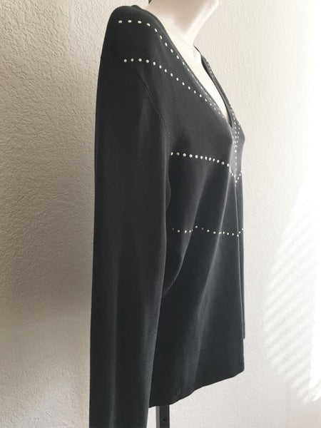 MAG Magaschoni Size MEDIUM Black Studded Top
