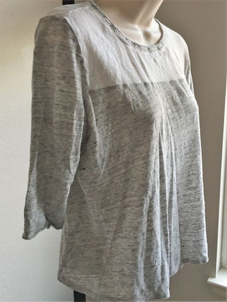 Maison Scotch SMALL Two-Tone Gray and White Tee