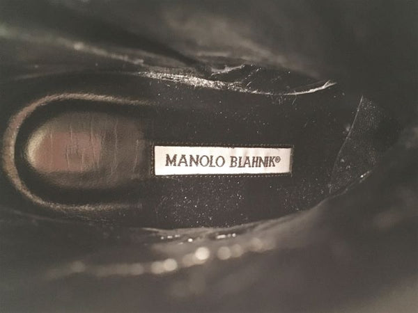 Manolo Blahnik Size 37 Black Leather Ankle Boots - LIKE NEW
