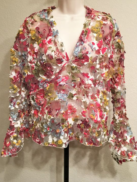Marc Baxis LARGE Sheer Red and Blue Floral Blouse