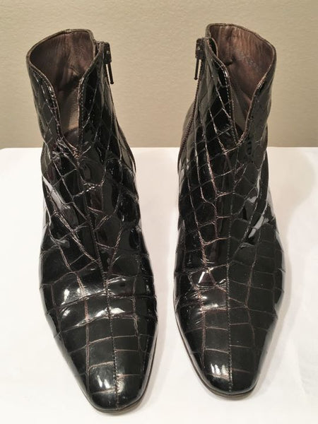 Mauro Teci Size 36.5 Brown Alligator Leather Boots