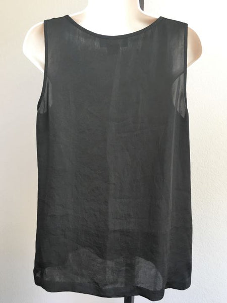 Michael Kors Size 8P Black Sleeveless Ruffle Blouse