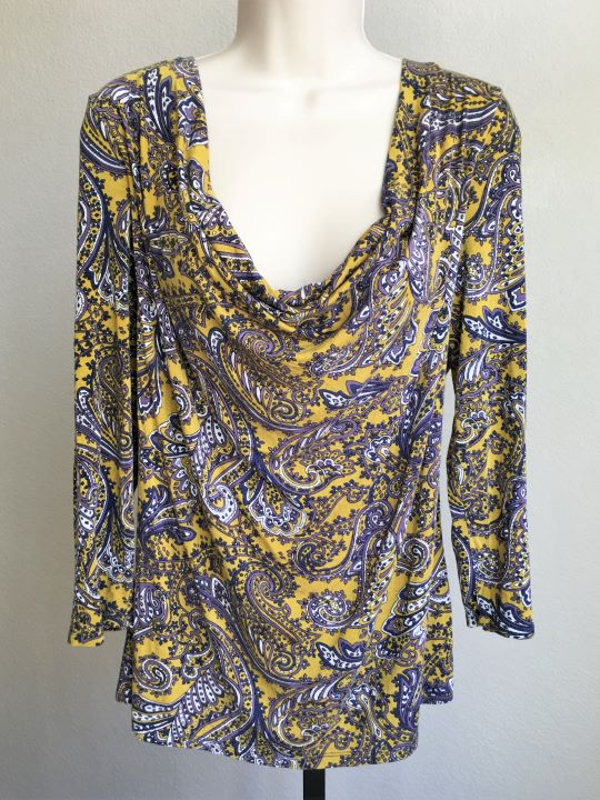 Michael Kors Size XL Yellow and Purple Paisley Top