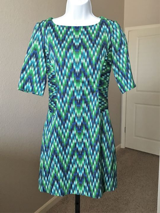 Milly Size 2 Blue and Green Pattern Dress