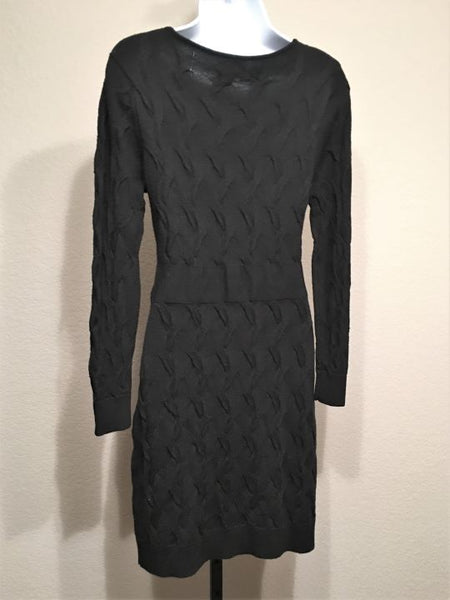 Milly Size Small Black Cable Knit Sweater Dress