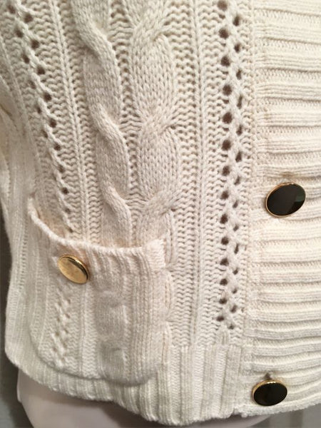 Milly Size Petite Cream Cashmere Cable Knit Sweater
