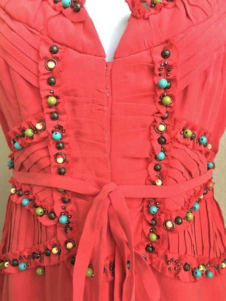 Nanette Lepore Size 0 Coral Silk Beaded Dress