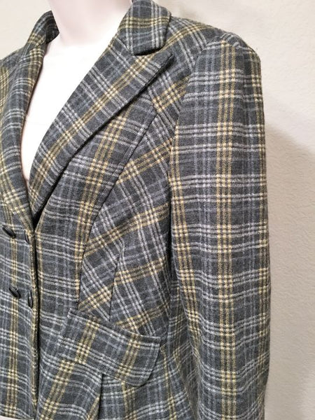 Nanette Lepore Size 10 Gray Plaid Double Breasted Blazer