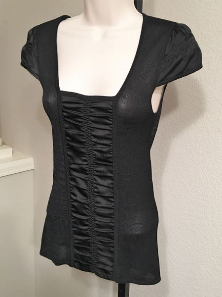 Nanette Lepore XS Small Black Knit Top with Silk Trim