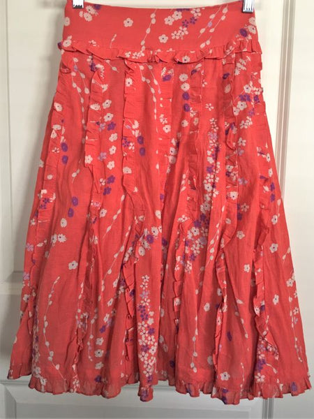 Odille Anthropologie Size 4 Coral Ruffled Floral Skirt