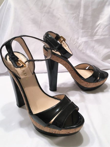 PRADA size 6 Black Patent Leather Platform Sandals