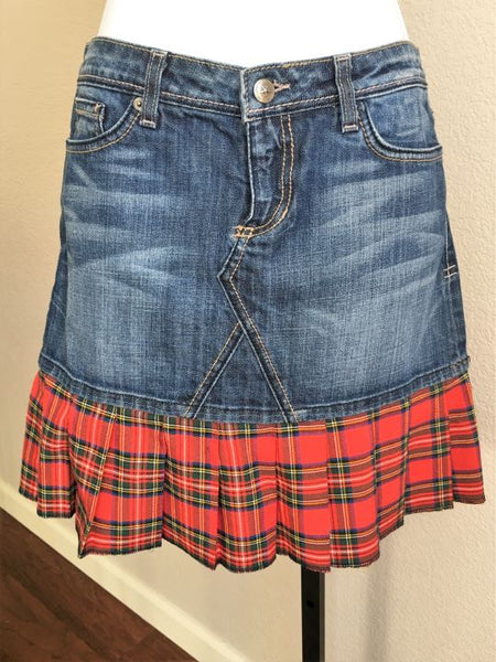 People's Liberation Sz 2 Denim Red Plaid Mini Skirt