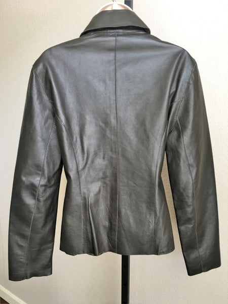 Phillippe Adec Size 8 Brown Leather Coat