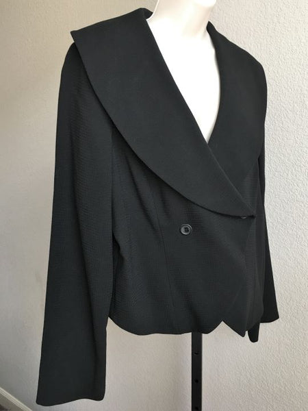 Pink Tartan Size 14 Black Double Breasted Blazer