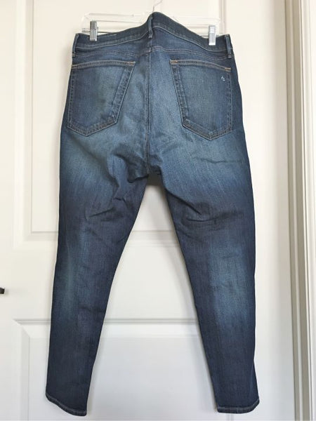 Rag & Bone Size 14-16 Blue Distressed Cropped Jeans