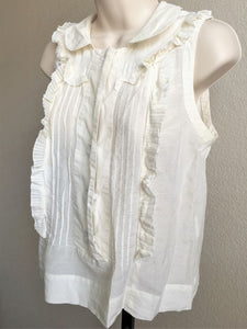 See by Chloe Size 4 Ivory Sleeveless Ruffle Blouse