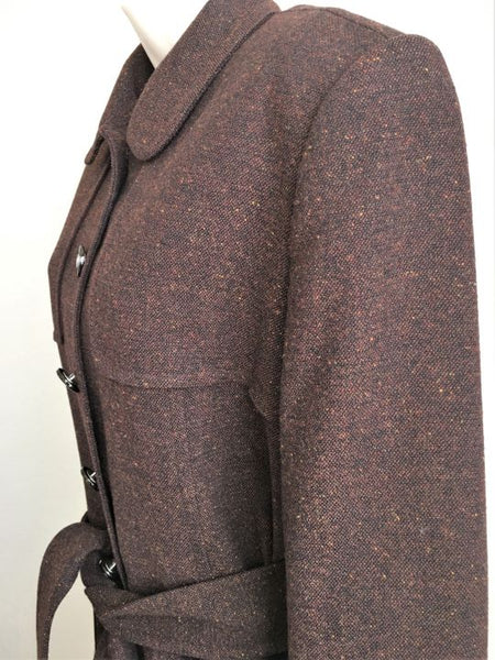 St. John Collection Size 8 Brown Tweed Trench Coat