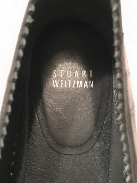 Stuart Weitzman Size 10.5 Nugget Black Leather Slip-ons