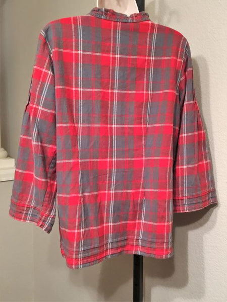 Sundance LARGE Red Plaid Ruffled Shirt