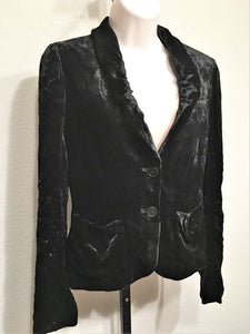 Theory Size 4 Black Crushed Velvet Blazer