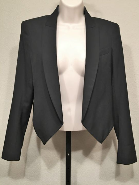 Theory Size 6 Black Wool Cropped Open Front Blazer